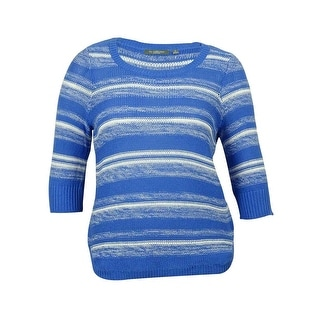 NY Collection Women's Striped Cotton Knitted Sweater