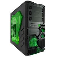 Apevia  2 No Power Supply ATX Mid Tower Case, Black & Green