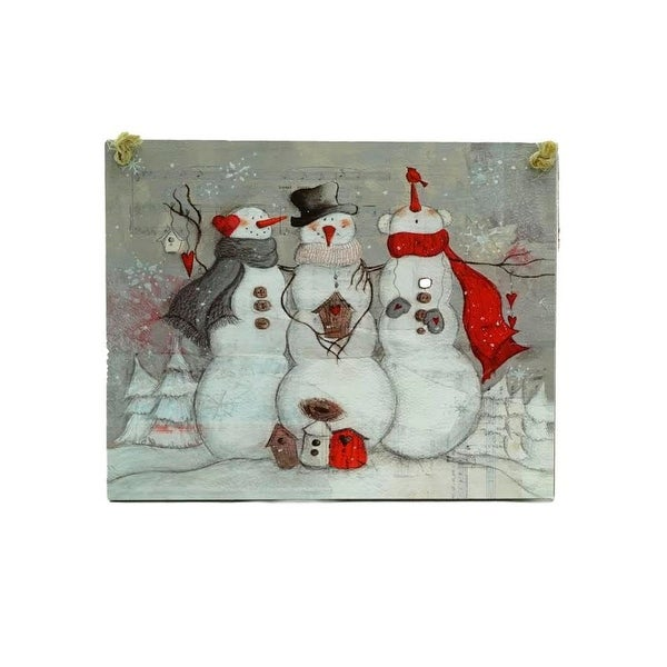"6"" Country Cabin Whimsical Snow Buddies Snowman Plaque Christmas Ornament - WHITE"
