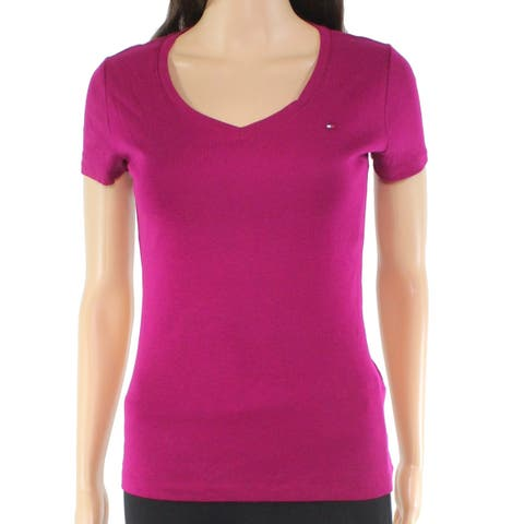 Tommy Hilfiger Womens Top Pink Size XL Knit V-neck Flag Tee Stretch Fitted 152