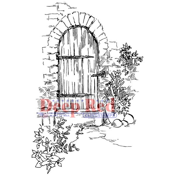 "Deep Red Cling Stamp 2""X3""-Garden Doorway"