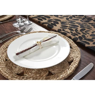 """LR Home Table Top Natural Jute Circlet Placemats (15 inch Set of Two) - 15"""" x 15"""""""