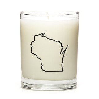 State Outline Candle, Premium Soy Wax, Wisconsin, Fresh Linen