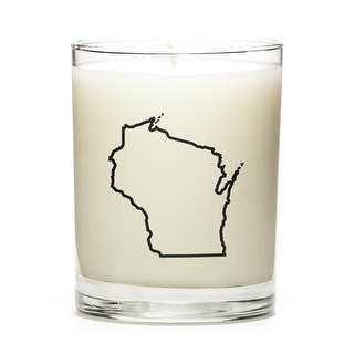State Outline Candle, Premium Soy Wax, Wisconsin, Lemon