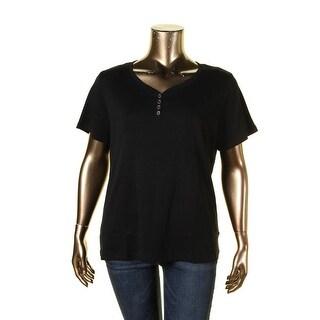 Karen Scott Womens Plus Henley Top Short Sleeves Cotton