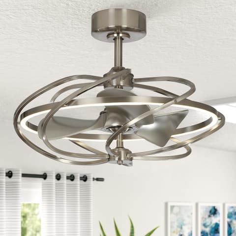 Reversible 3-Blades Satin Nickel LED Ceiling Fan with Remote
