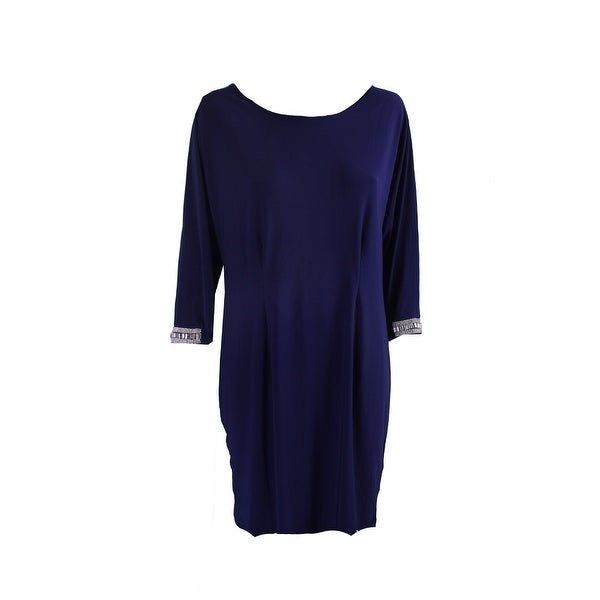 Msk Blue Rhinestone Split-Sleeve Cocktail Dress 6