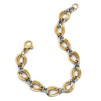 Italian 14k Two-Tone Gold Polished Fancy Link Bracelet - 7.5 inches