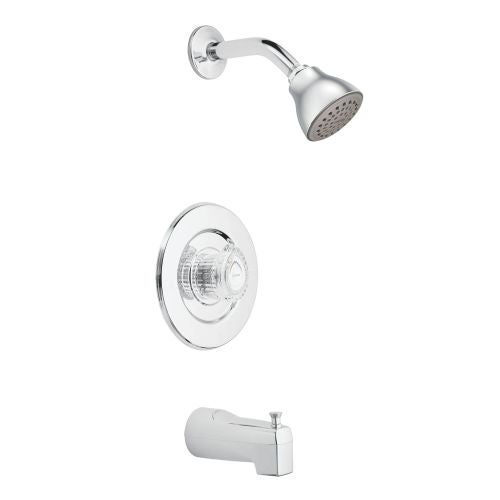 Moen T471 Chateau Pressure Balanced Tub and Shower Trim with 2.5 GPM Shower Head, Tub Spout, and Volume Control - Less Valve