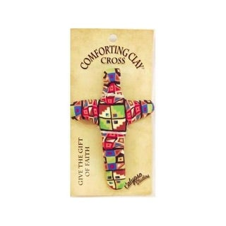 94267 Pocket Cross-Comforting Clay-Patchwork, 3 in.