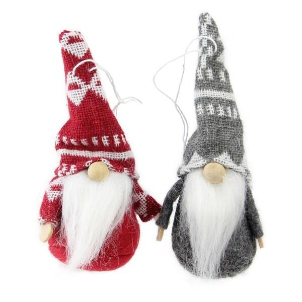 """Set of 2 Gray and Red Santa Gnomes Hanging Christmas Ornaments 4"""""""