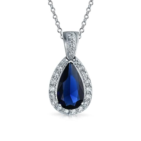 Royal Blue Pear Shaped Tear drop Pendant Necklace Pace CZ Halo Imitation Sapphire Rhodium Plated Brass 18 Inch Chain