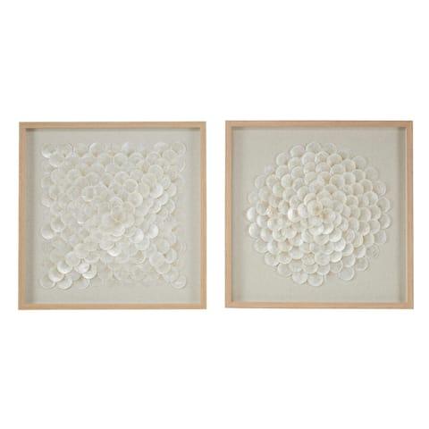 "23.5"" Square Natural and White Shell Shadow Boxes Coastal Wall Art Set of 2 - 24 x 1 x 24"
