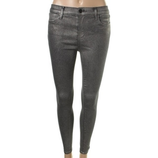 J Brand Womens Alana Coated High-Rise Cropped Jeans