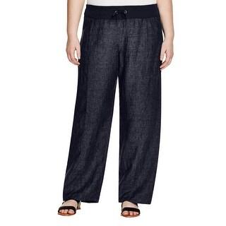 Eileen Fisher Womens Plus Wide Leg Pants Linen Wide Leg - 2x