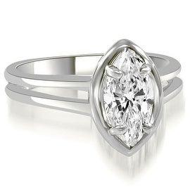 0.75 cttw. 14K White Gold Split Shank Marquise Cut Halo Diamond Engagement Ring