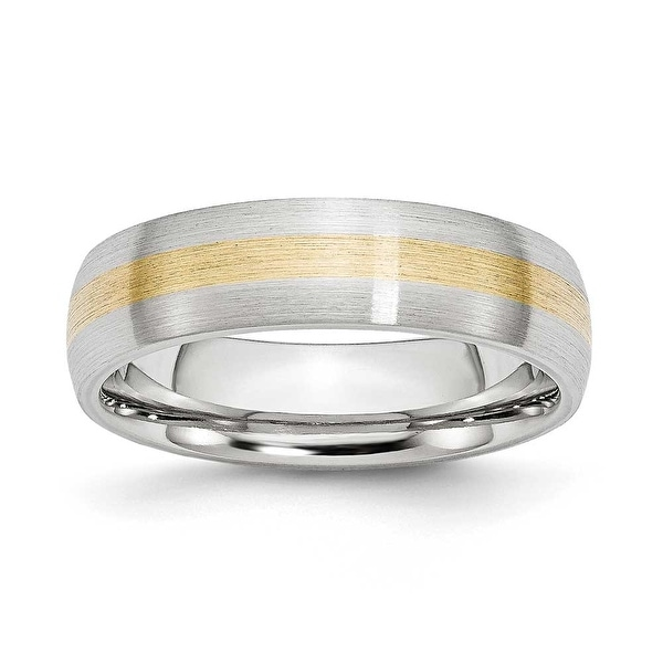 Chisel Cobalt Chromium 14k Gold Inlay Satin 6mm Band