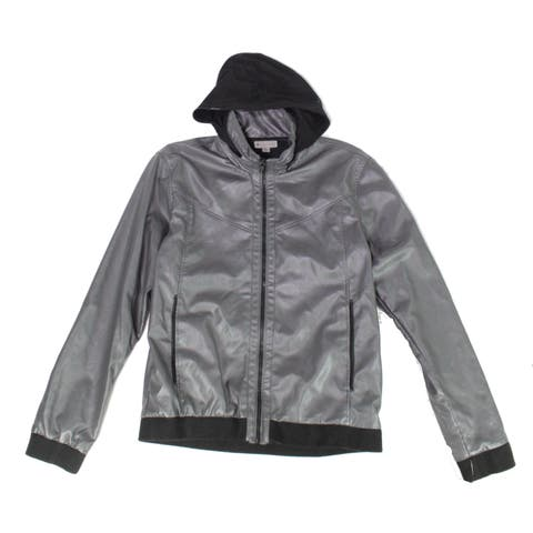 Charles And A Half Womens Jacket Dark Gray Size Small S Faux Leather