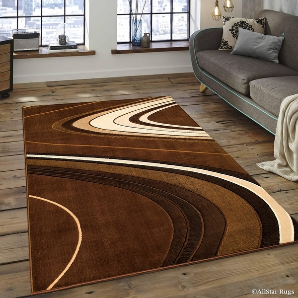 "AllStar Rugs Brown Modern Contemporary Area Rug (7' 10"" x 10' 2"")"