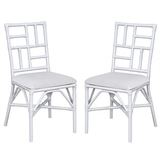 """Link to Safavieh Christine Rattan Accent Chair with Cushion (Set of 2) - 18.5"""" W x 20.9"""" L x 35.8"""" H Similar Items in Outdoor Sofas, Chairs & Sectionals"""