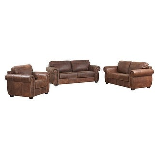 Ashanti Mercury BUFFALO Genuine Aniline Leather Sofa Set - Mid Brown