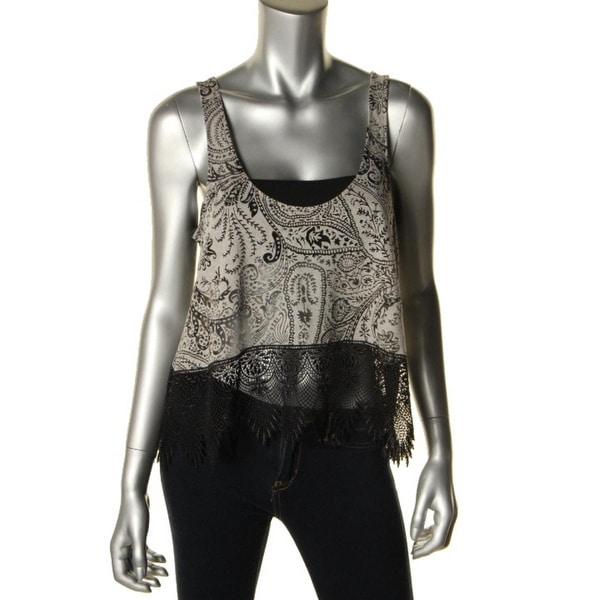0e989b6ff9ef00 Shop Free People Womens Crop Top Lace Trim Burnout - s - Free Shipping On  Orders Over  45 - Overstock.com - 19576971