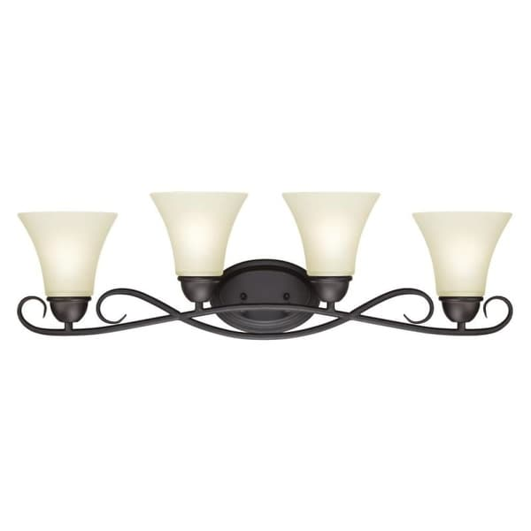 """Westinghouse 6307000 Dunmore 32"""" Wide 4 Light Bathroom Vanity Light with Frosted Glass Shades"""