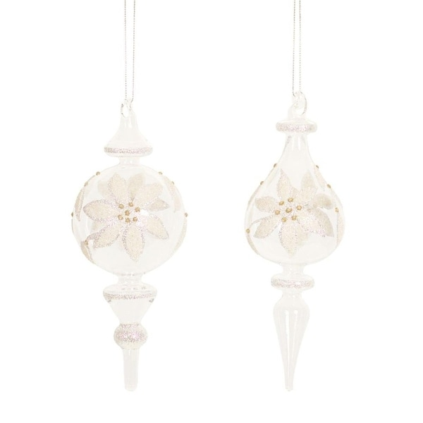 """Set of 6 Lovely Clear & Gold Beaded Flower Glass Finial Christmas Ornaments 11.5"""""""