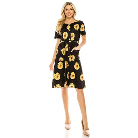 Haute edition Women's button down dress with pockets