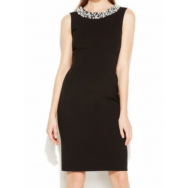 67c0f8e38ee Shop Calvin Klein Black Pearl Neck Womens Size 8 Sleeveless Sheath Dress -  Free Shipping On Orders Over  45 - Overstock - 28004970