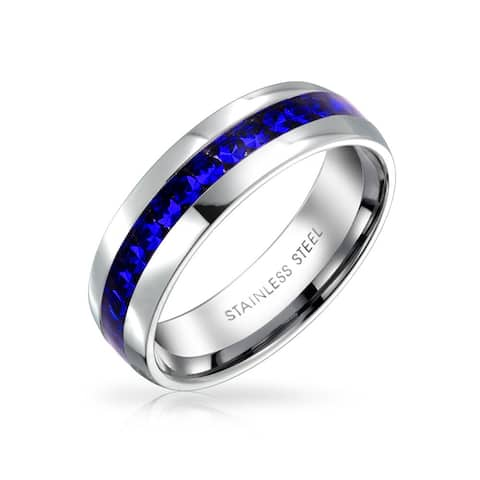 Royal Blue Crystal Channel Set Eternity Band Ring For Women Stainless Steel 6mm