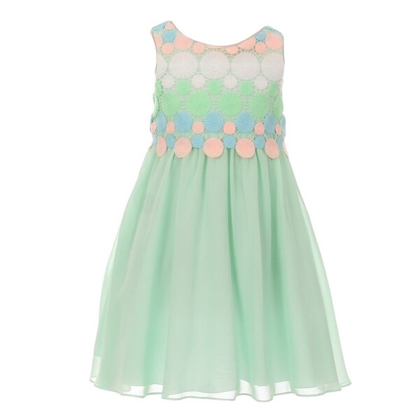 a96a0cb67f47 Shop Kids Dream Girls Mint Circle Embroidered Flowy Chiffon Easter Dress -  Free Shipping On Orders Over $45 - Overstock - 18164594