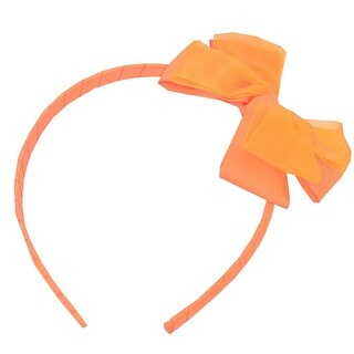 Girls Orange Bow Accented Stylish Hairband Hair Accessory