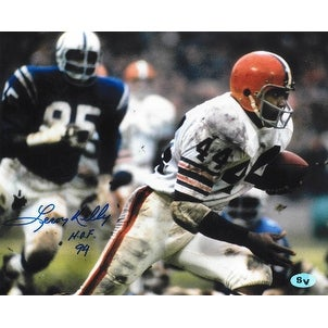 Leroy Kelly signed Cleveland Browns Color 8X10 Photo HOF 94 vs Colts
