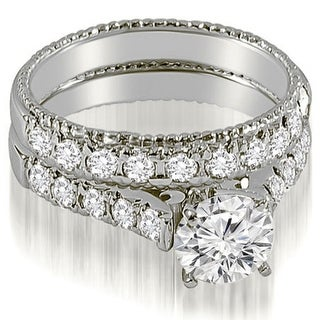 1.50 CT.TW Vintage Cathedral Round Cut Diamond Bridal Set in 14KT White gold - White H-I