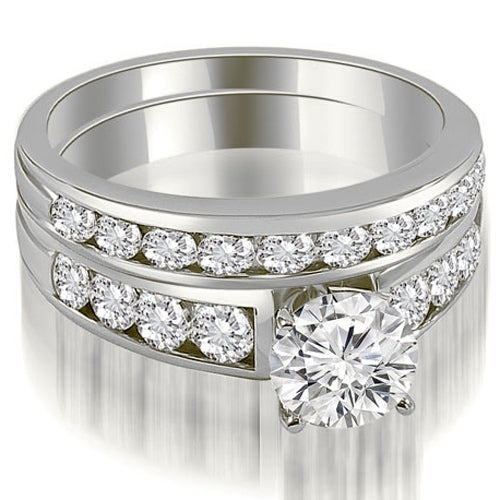 2.15 cttw. 14K White Gold Classic Channel Set Round Cut Diamond Bridal Set