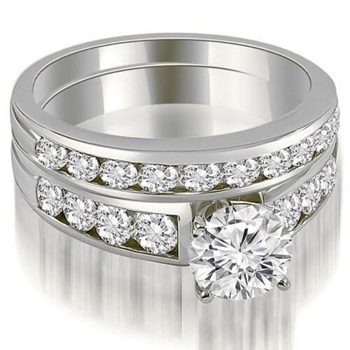 2.65 cttw. 14K White Gold Classic Channel Set Round Cut Diamond Bridal Set