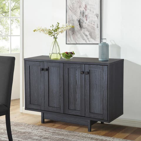 """Q-Max 47""""W Sideboard Storage Cabinet, Dining Server Cupboard Buffet Table with Two Storage Cabinets"""