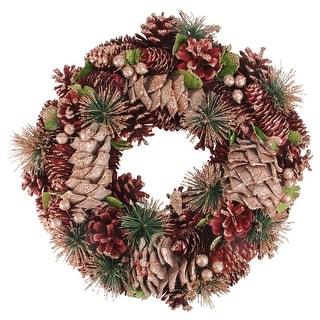"""13.75"""" Fandango Pink Pine Cones and Berries Artificial Christmas Wreath - Unlit"""