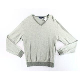 Polo Ralph Lauren NEW Gray Mens Size XL Herringbone Knit V-Neck Sweater