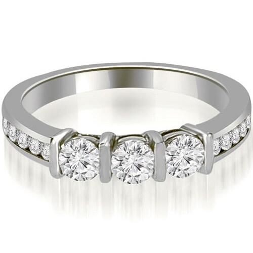 0.80 cttw. 14K White Gold Bar Set Round Cut Diamond Wedding Band