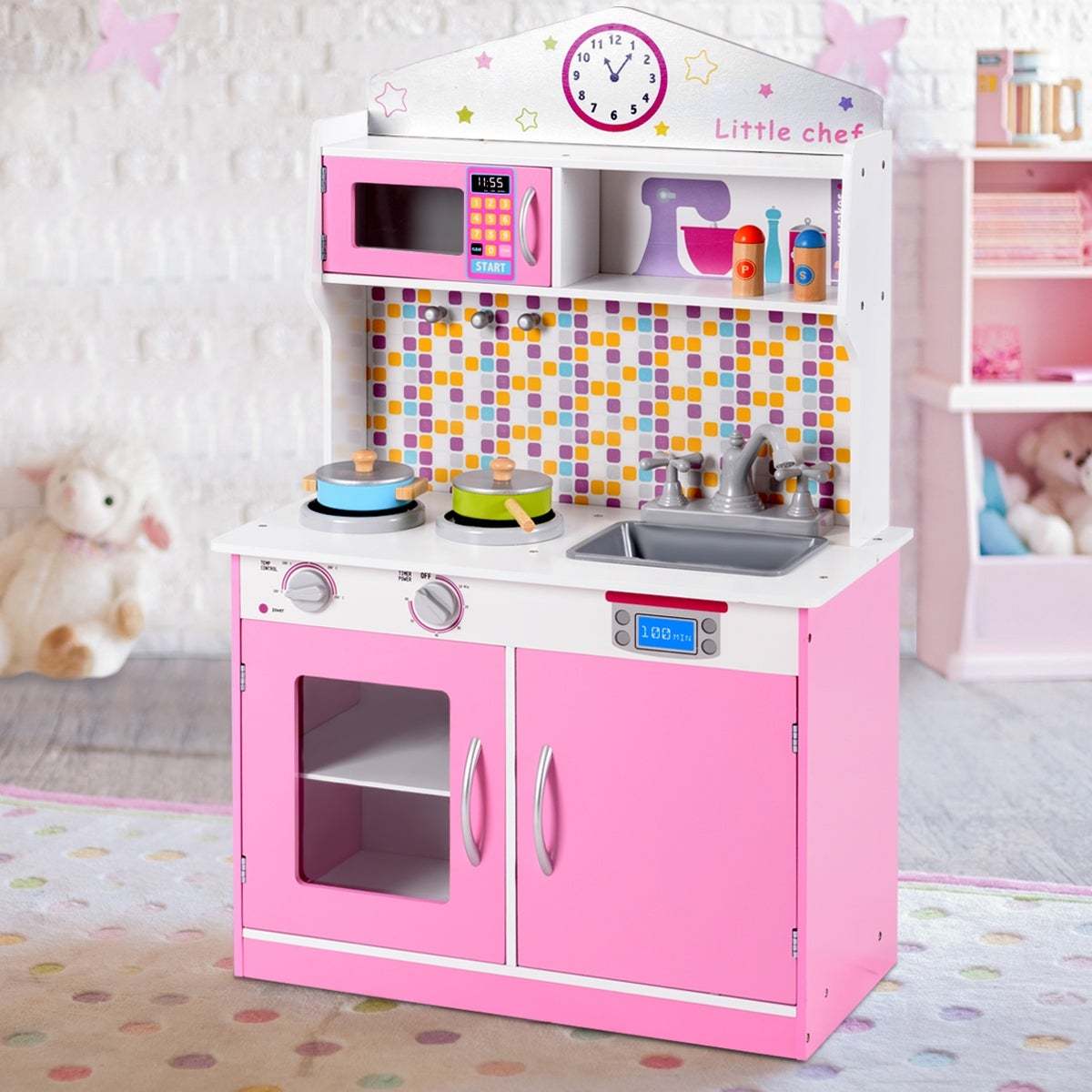 Gymax Kids Wooden Pretend Cooking