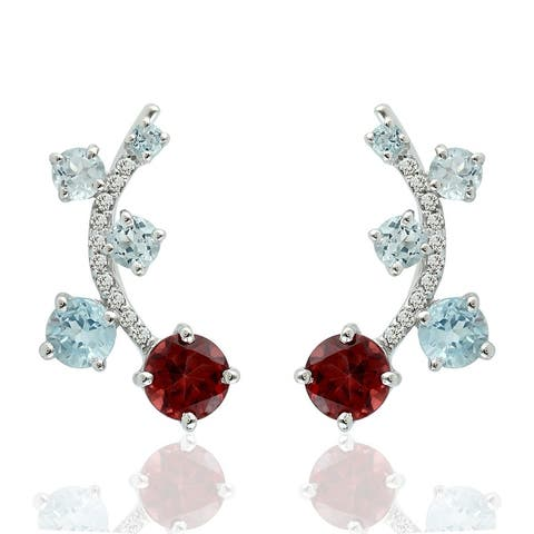 Natural Garnet Ear Climber Earrings 925 Sterling Silver Topaz Jewelry With Free Jewelry Box