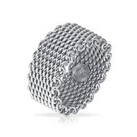 Bling Jewelry 925 Sterling Silver Heavy Woven Mesh Style Ring