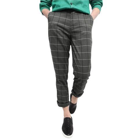 Men Vintage Plaid Checks Windowpane Pattern Yarn Dyed Flat Front Pants - Dark Gray