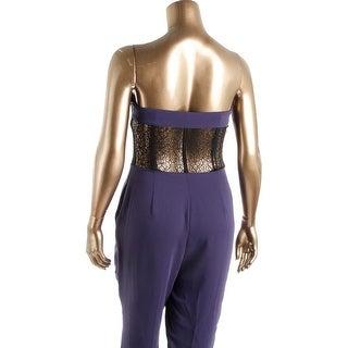 Rachel Roy Womens Guest List Lace Inset Strapless Jumpsuit