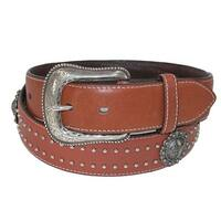 Roper Men's Leather 38mm Belt with Cross Choncos