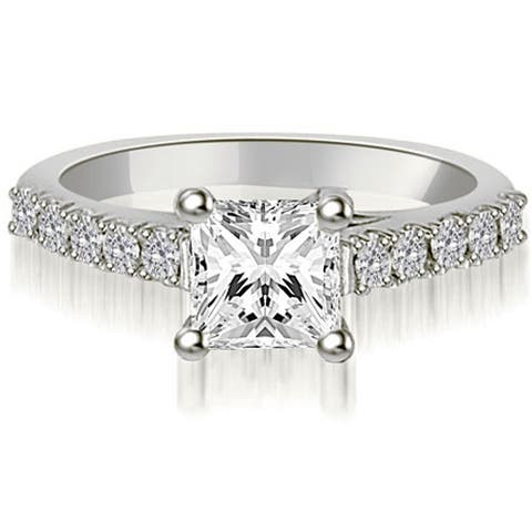 Lucida 0.60 CT Princess & Round Cut Diamond Engagement Ring in 18KT
