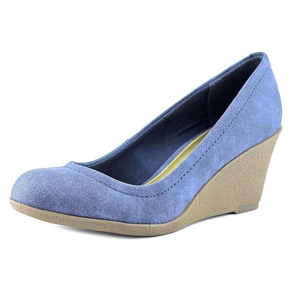 American Living Mikala Women Open Toe Synthetic Wedge Heel Blue Size 11.0