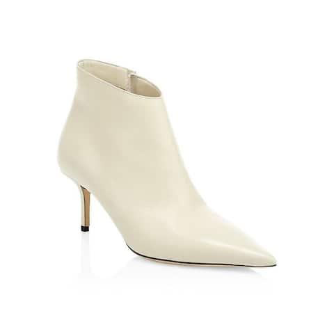 Jimmy Choo Women's Leather Marinda Point-Toe Booties Ivory
